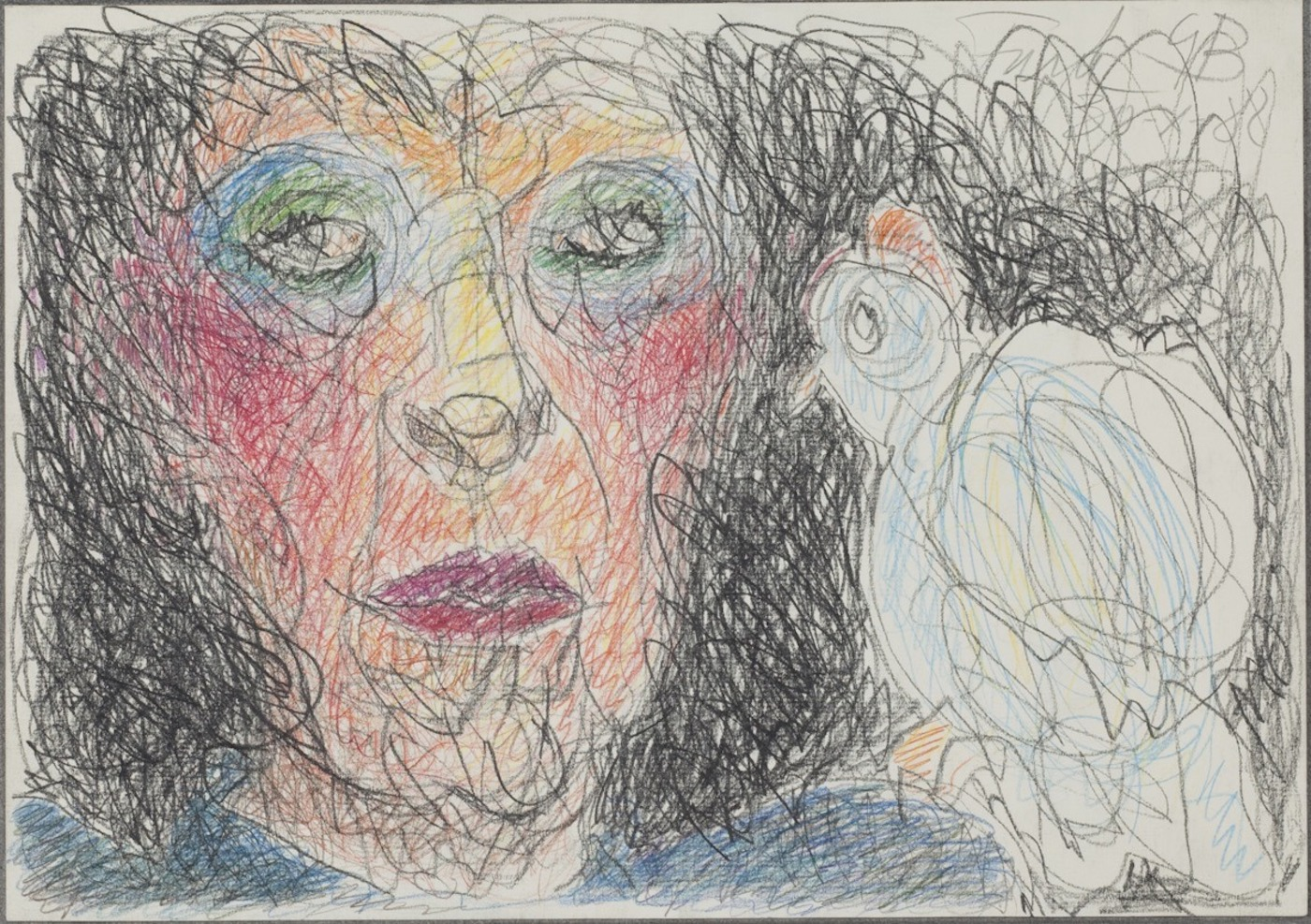 1436964494-self-portrait with bird 1988 drawing small
