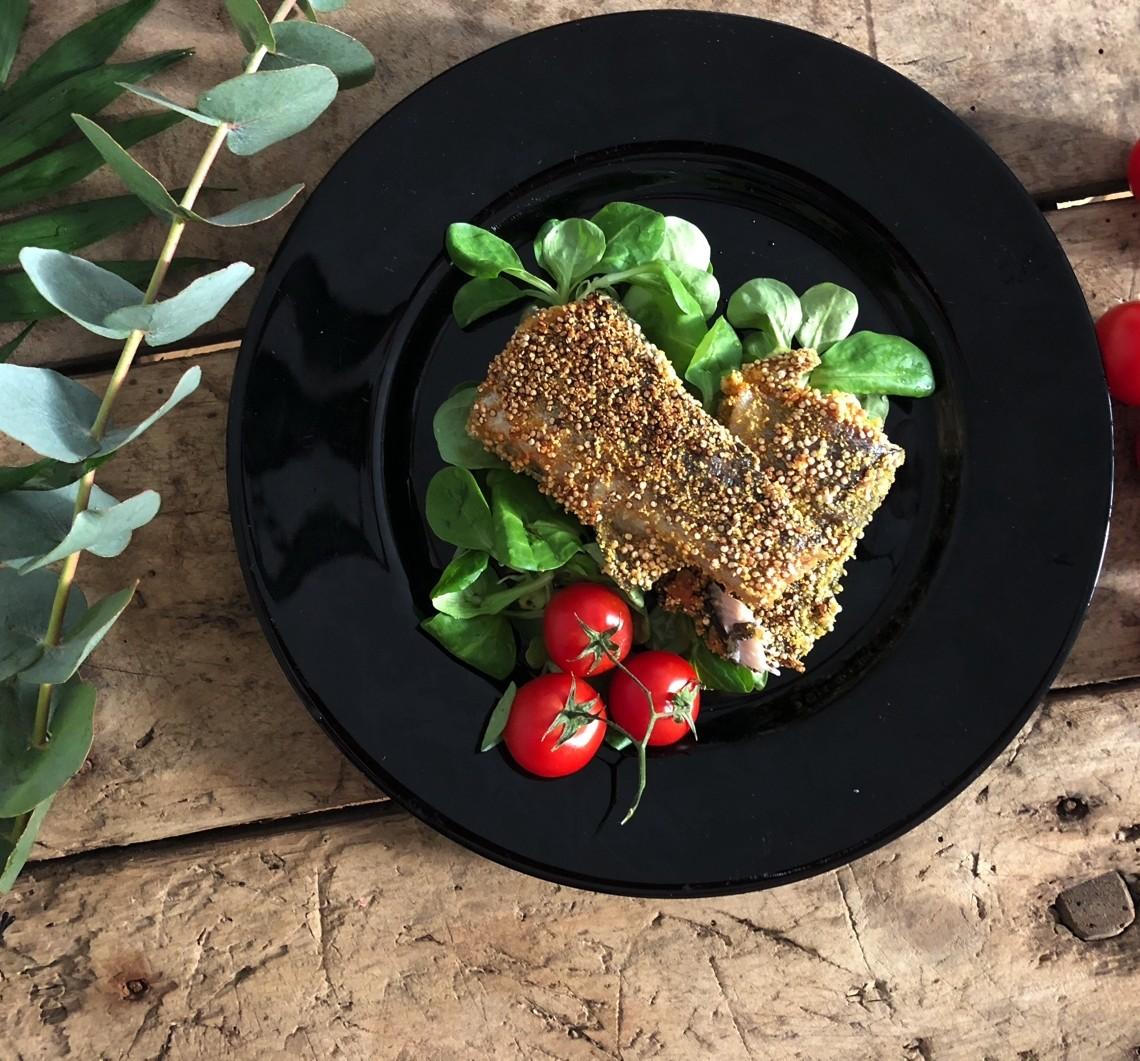 Vertical Taste: Pastrav in crusta de quinoa