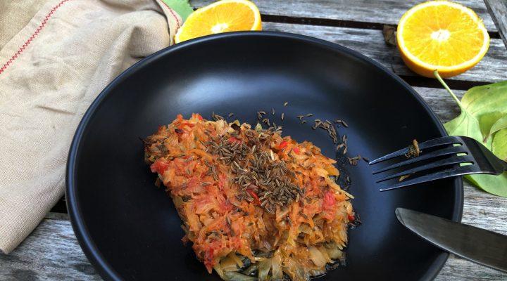 De post- Varza la cuptor cu chimen si portocala